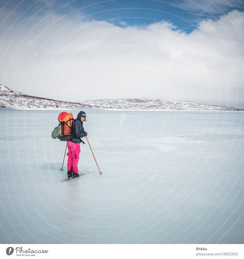 water cruise Vacation & Travel Winter Winter sports Young woman Youth (Young adults) Nature Elements Water Clouds Ice Frost Snow Scandinavia Brave Passion Trust