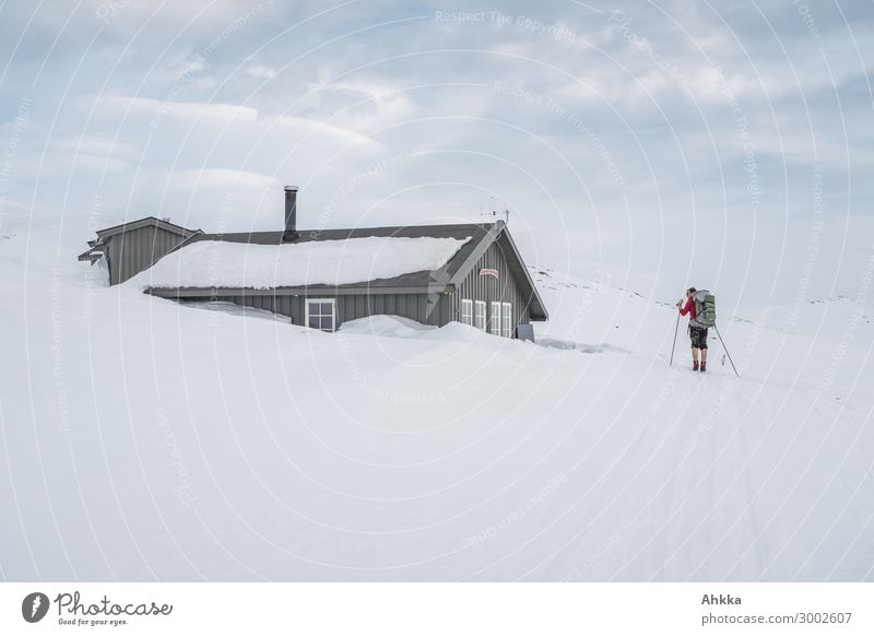 Skier reaches snow-covered hut Vacation & Travel Trip Adventure Winter Snow Winter vacation Masculine 1 Human being Ice Frost Norway Hut Discover To hold on