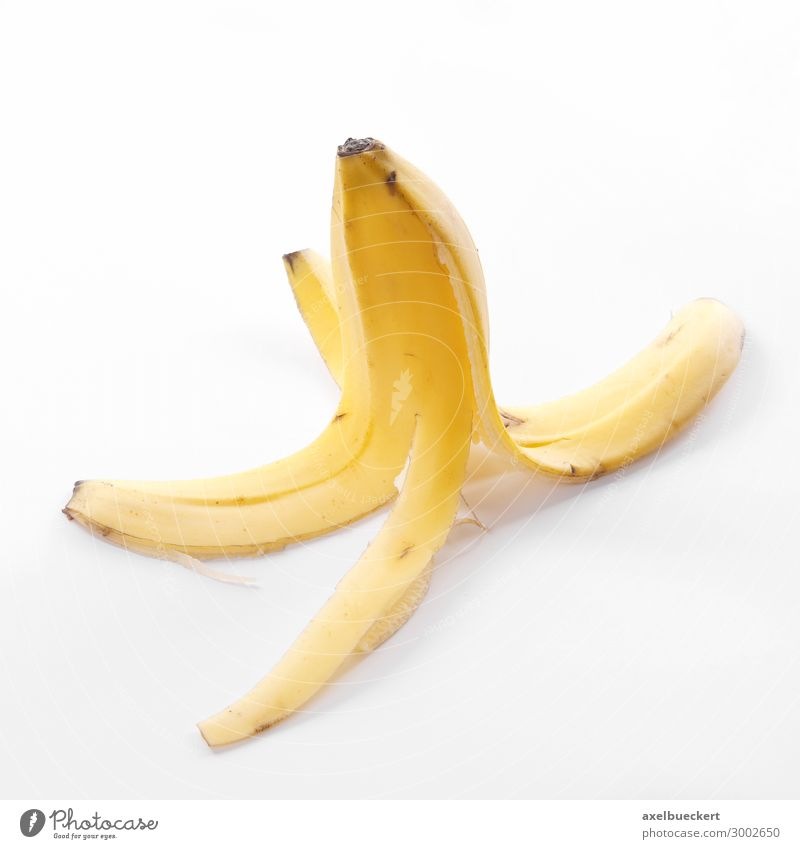 Food Yellow Fruit Nutrition Symbols and metaphors Risk Vegetarian diet Banana Slip Throw away Slapstick Bright background Banana skin