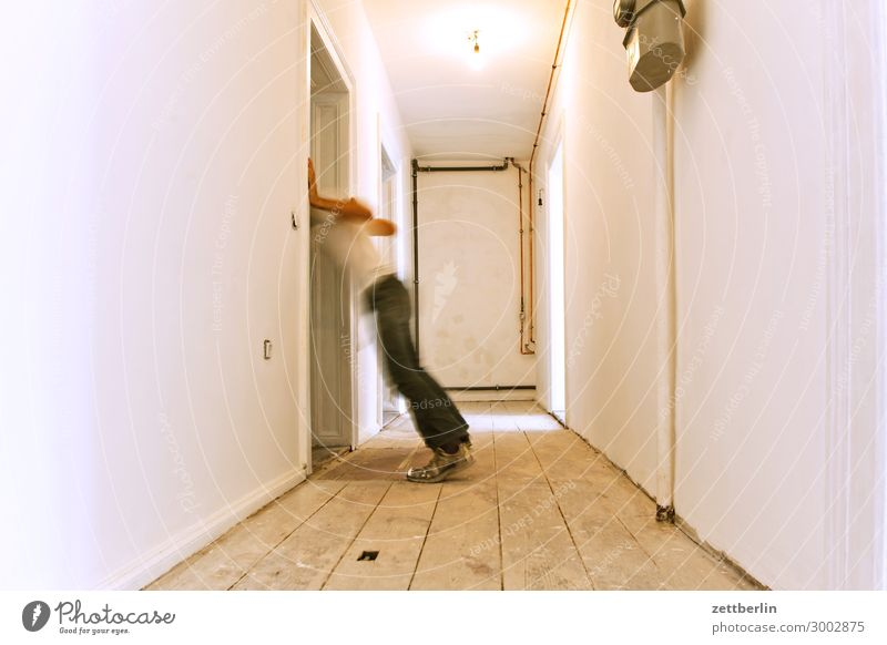 sickness Old building Period apartment Motion blur Hallway Wooden floor Floor covering Man Wall (barrier) Human being Room Interior design Copy Space Stage play