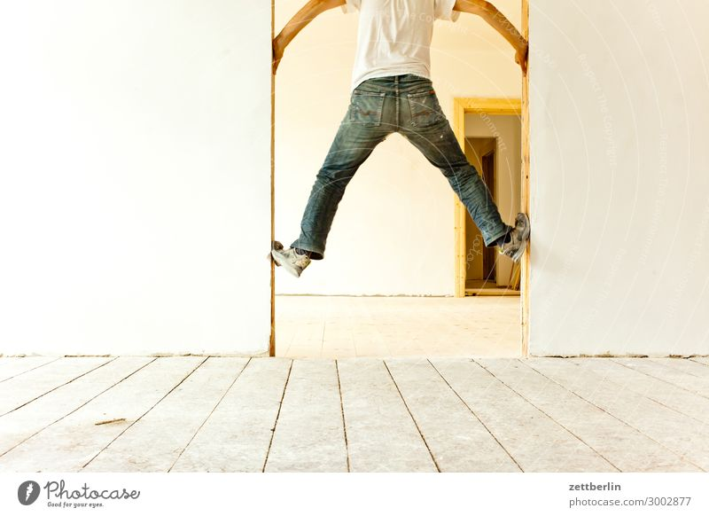 5100 - Ascent Motion blur Hallway Wooden floor Floor covering Man Wall (barrier) Human being Room Copy Space Stage play Shallow depth of field Blur Expulsion