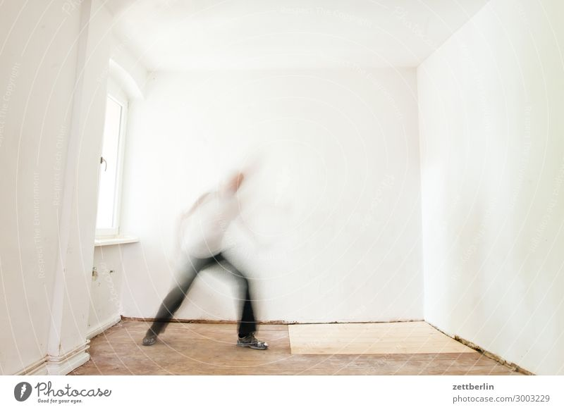 solo dancer Old building Period apartment Motion blur Hallway Wooden floor Floor covering Man Wall (barrier) Human being Town house (City: Block of flats) Room
