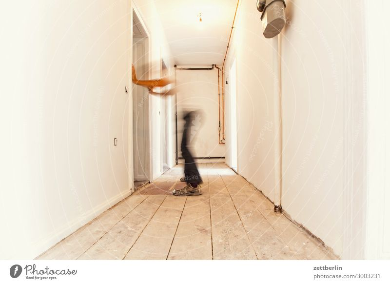 grapevine Old building Period apartment Motion blur Hallway Wooden floor Floor covering Man Wall (barrier) Human being Room Interior design Copy Space