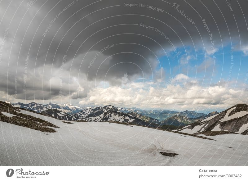 height Nature Landscape Elements Sky Storm clouds Horizon Summer Weather Ice Frost Snow Rock Alps Mountain Peak Snowcapped peak Glacier Cold Blue Gray White