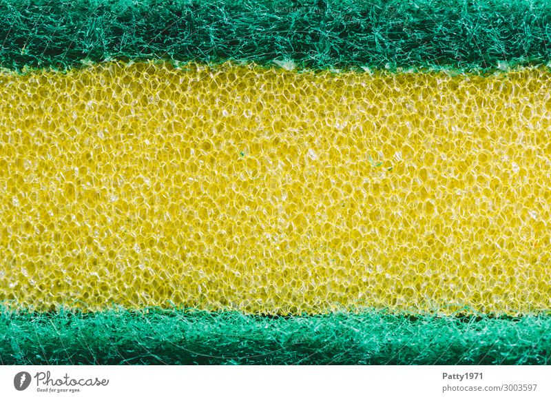Kitchen sponge (macro) Living or residing Flat (apartment) Bathroom Sponge Surface structure Plastic Clean Yellow Green Pure Cleaning Cleaning agent Rasping