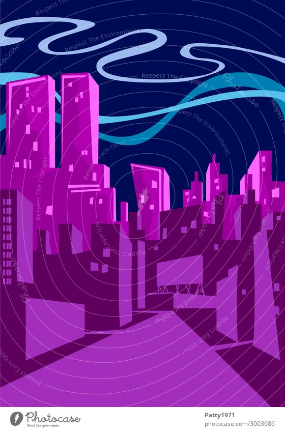 downtown Lifestyle Design Night life Entertainment Town Downtown Skyline High-rise Illustration Sharp-edged Hip & trendy Modern Blue Violet Pink Cool (slang)