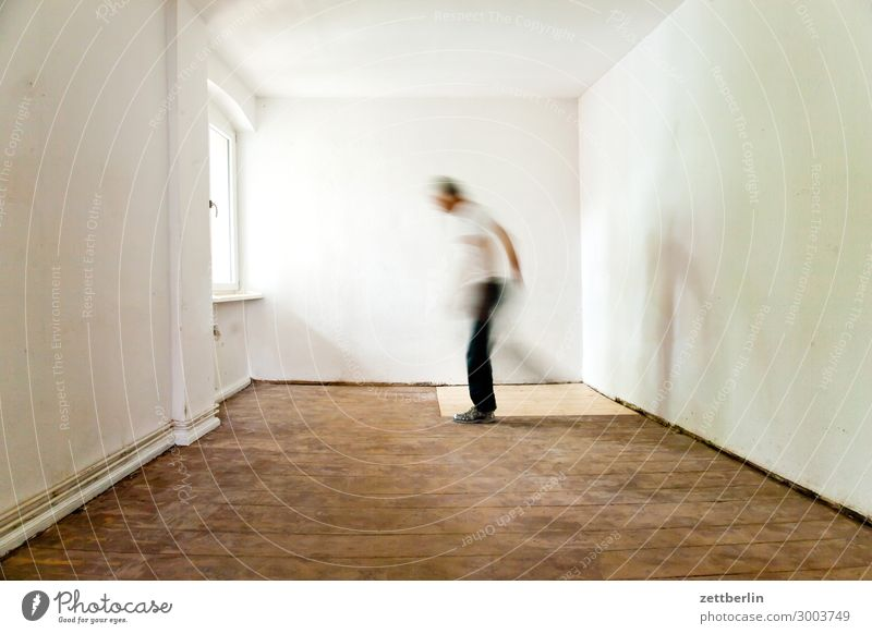 standing leg, playing leg Old building Period apartment Motion blur Hallway Wooden floor Floor covering Gentrification Man Wall (barrier) Human being