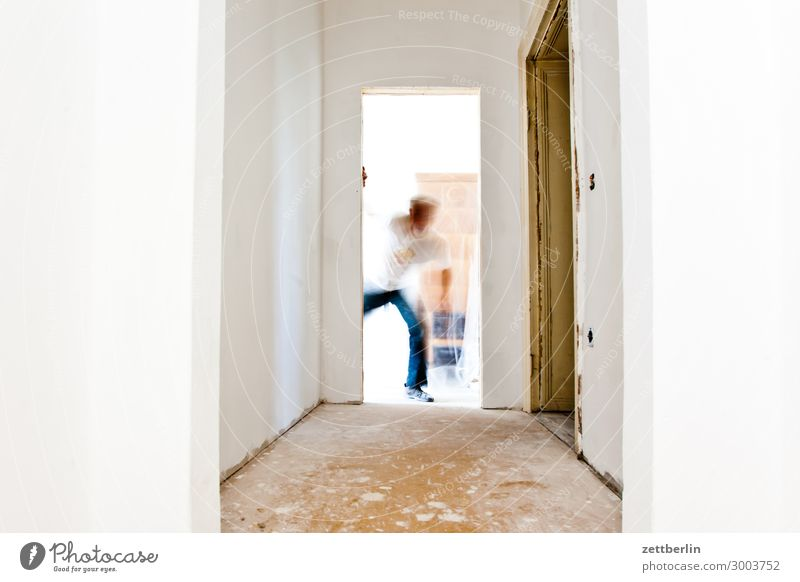 surprise Old building Period apartment Construction site Motion blur Hallway Wooden floor Floor covering Craft (trade) Craftsperson Man Human being Room