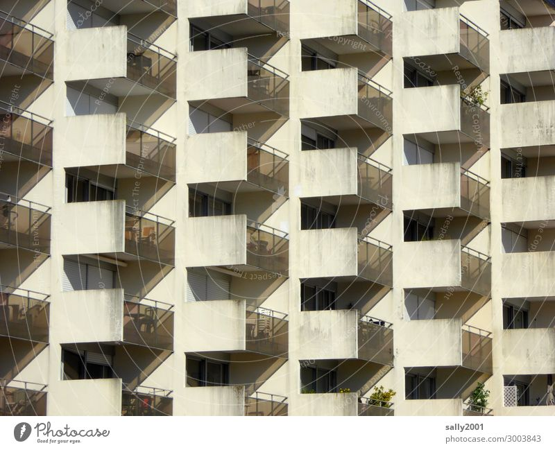 Balconies... House (Residential Structure) High-rise Building Prefab construction Concrete construction Balcony Observe Relaxation Threat Hideous Tall Cold