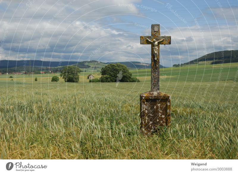 cross Funeral service Church Stone Hang Calm Christian cross Christianity Jesus Christ Prayer Field crucifix Spirituality Grain Colour photo Exterior shot