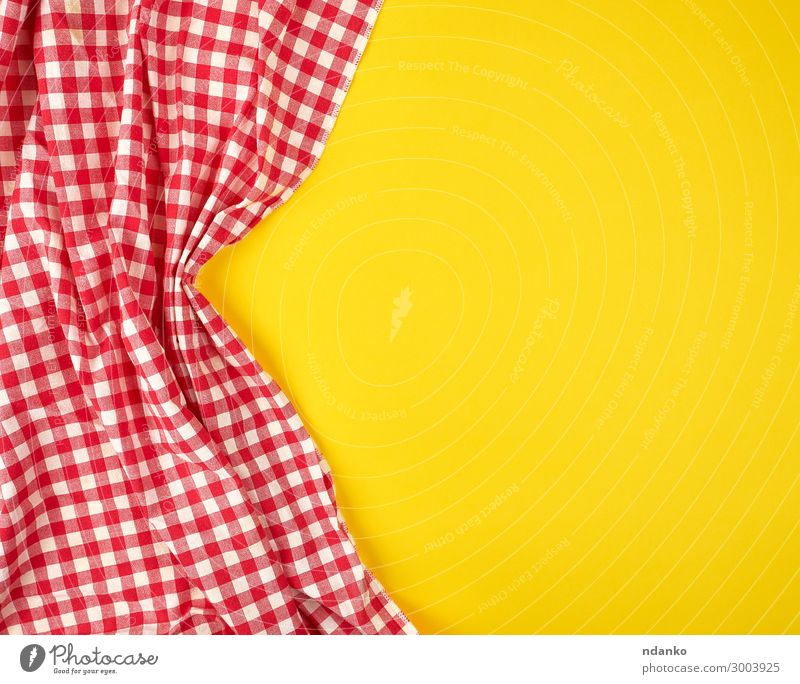 white red checkered kitchen towel on a yellow background Design Decoration Table Kitchen Cloth Above Clean Yellow Red White Colour Tradition Checkered square