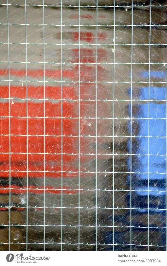 blurred behind glass Technology Facade Window Box Container Glass Metal Line Sharp-edged Blue Red Town Colour photo Exterior shot Detail Abstract Pattern