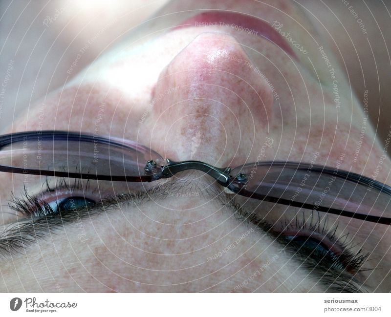 eyes Eyeglasses Eyebrow Macro (Extreme close-up) Woman Eyes Hair and hairstyles Nose Mouth Face
