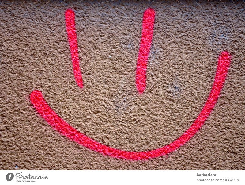 Smiley, that's what I'm talking about. Face Wall (barrier) Wall (building) Facade Sign Graffiti Line Smiling Laughter Happiness Funny Pink Emotions Moody Joy