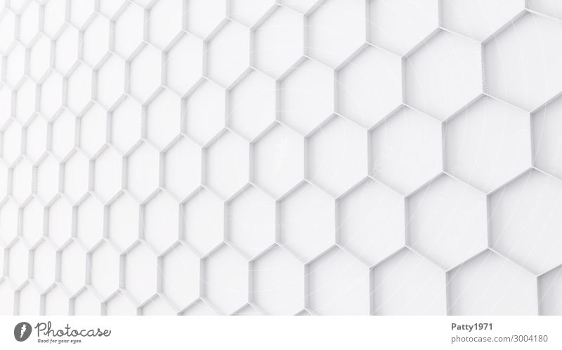 Hexagon Background - 3D Render Honeycomb Structures and shapes Background picture Sign Ornament Sharp-edged Clean White Network Perspective Symmetry Technology