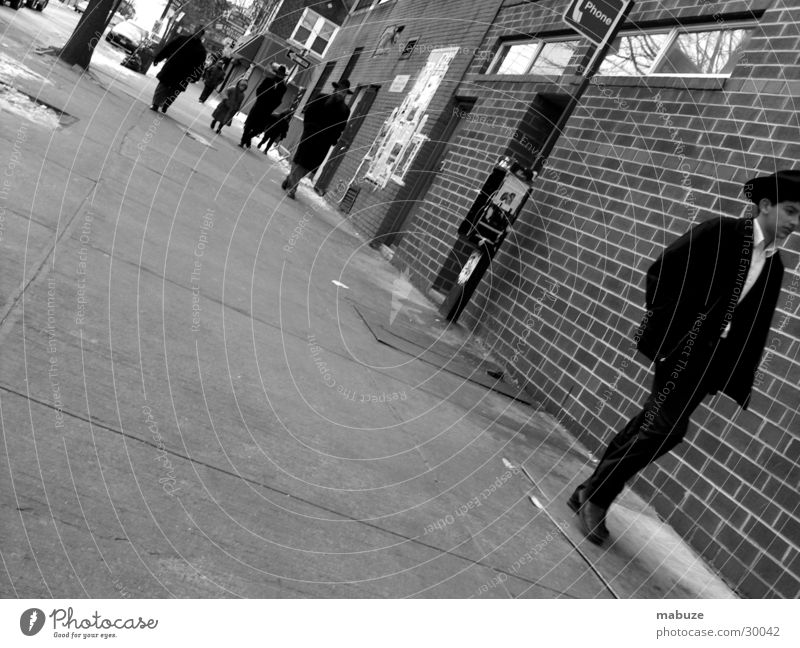 January in Brooklyn New York City Telephone Sidewalk Group Human being Jew Street Black & white photo USA
