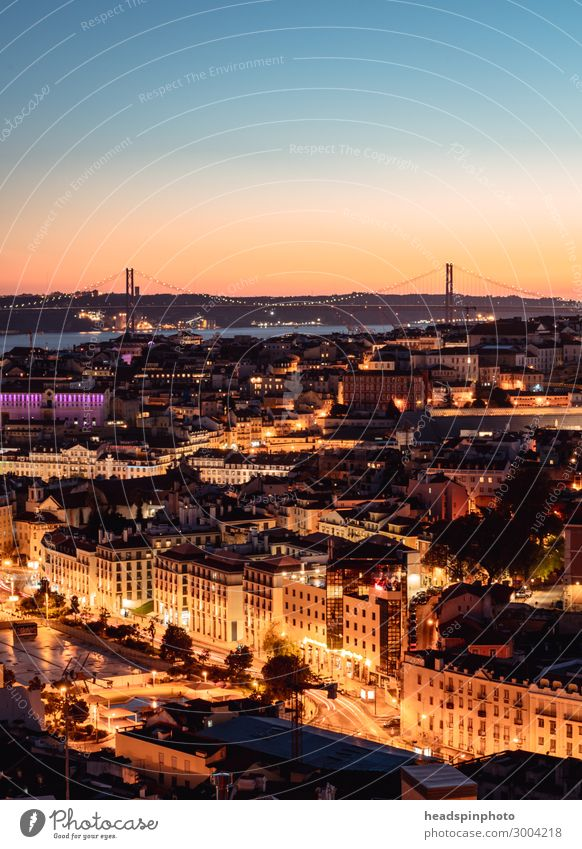Illuminated Lisbon and the Tejo after sunset Vacation & Travel Tourism Trip Adventure Sightseeing City trip Summer River Portugal Town Capital city Downtown