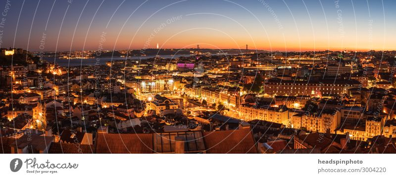 Panorama of Lisbon, Portugal, after sunset Vacation & Travel Tourism Trip Sightseeing City trip Summer vacation Town Capital city Port City Skyline Building
