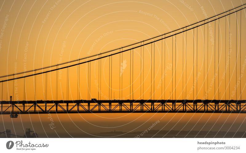 Section of the bridge Ponte 25 de Abril, Lisbon, Portugal Town Capital city Skyline Bridge Manmade structures Architecture Tourist Attraction Landmark Transport