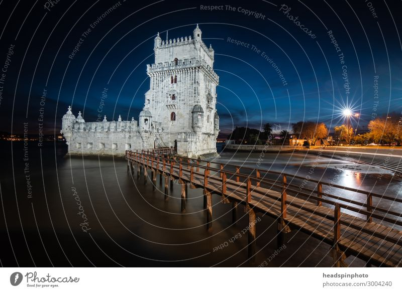 Night shot of the Belém Tower (Torre de Belém) in Lisbon Vacation & Travel Tourism Trip Sightseeing City trip Summer vacation Night sky River Portugal