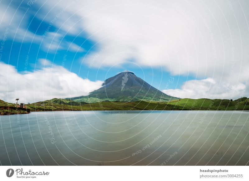 Volcano Pico & Lake, Azores, Portugal, against blue sky Vacation & Travel Tourism Trip Adventure Far-off places Freedom Safari Expedition Summer Summer vacation