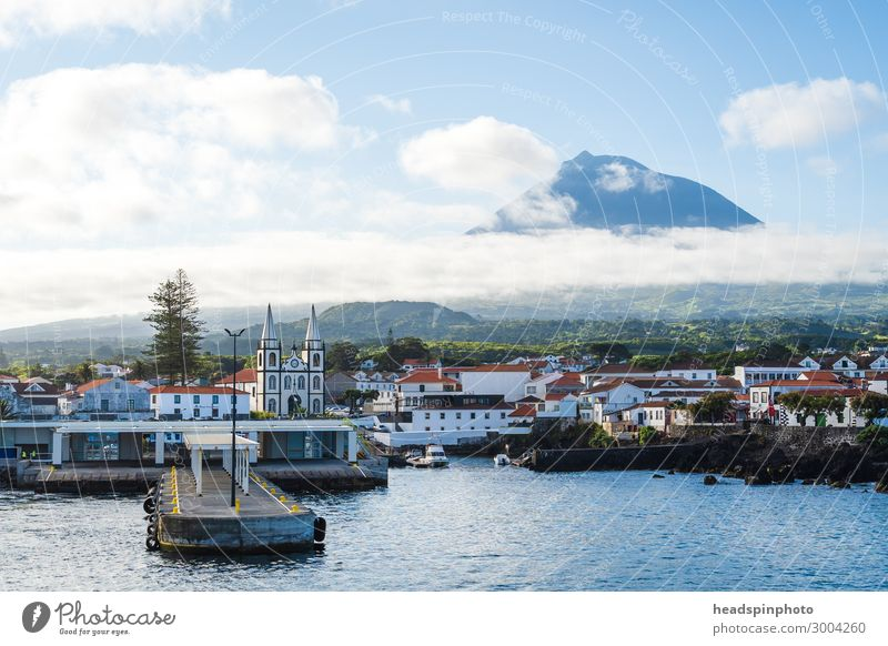 Port city Madalena and volcano Pico, Azores, Portugal Vacation & Travel Tourism Trip Freedom Sightseeing Cruise Nature Landscape Clouds Summer Rock Coast Reef