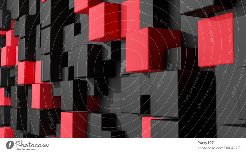 Kubus Wall - 3D Render Cube Background picture Sharp-edged Modern Red Black Bizarre Business Symmetry Three-dimensional render Colour photo Deserted
