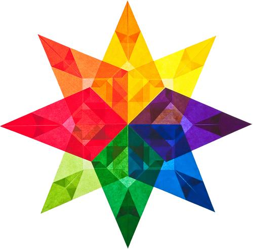 A colourful star made of transparent paper Art Paper Decoration Banner Transparent Star (Symbol) Sign Ornament Sharp-edged Thorny Multicoloured Yellow Green
