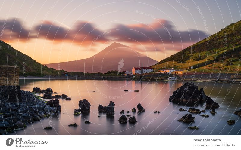 Volcano island Pico with reflections, Azores, at sunrise Landscape Elements Water Clouds Mountain Peak Ocean Island horta Portugal Village Fishing village