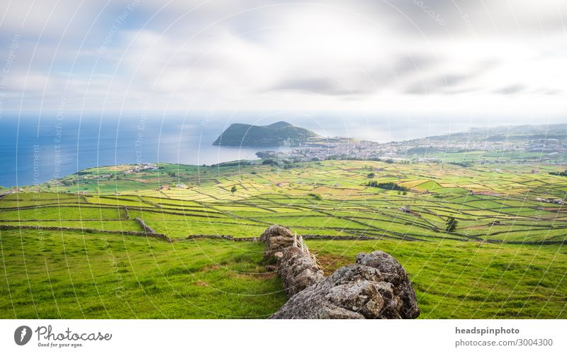Fields, Meadows & Rocky Coast, Soa Miguel, Azores, Portugal Calm Vacation & Travel Tourism Trip Freedom Hiking Nature Landscape Clouds Summer Grass Hill