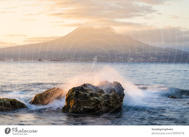 Sunrise with volcanic island Pico & Atlantic, Azores, Portugal Relaxation Calm Meditation Fragrance Vacation & Travel Tourism Trip Freedom Cruise Environment