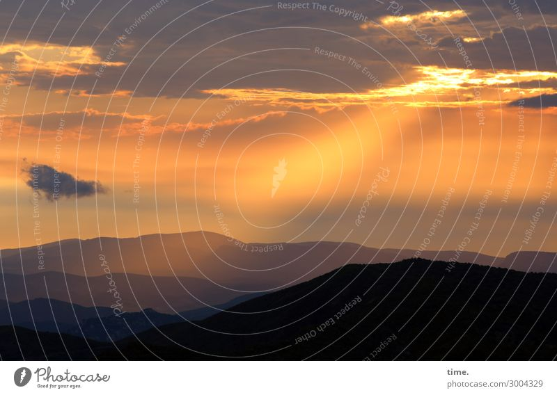 A new day Environment Nature Landscape Sky Clouds Horizon Sun Sunrise Sunset Beautiful weather Mountain Mountain range Emotions Moody Joie de vivre (Vitality)