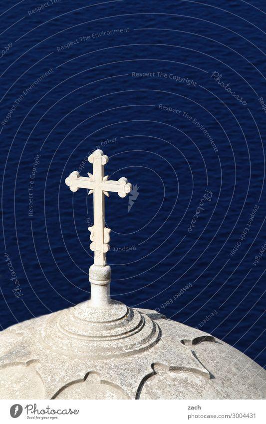 Blue Water White Ocean Religion and faith Church Island Belief Crucifix Mediterranean sea Dome Aegean Sea Santorini Cyclades Caldera