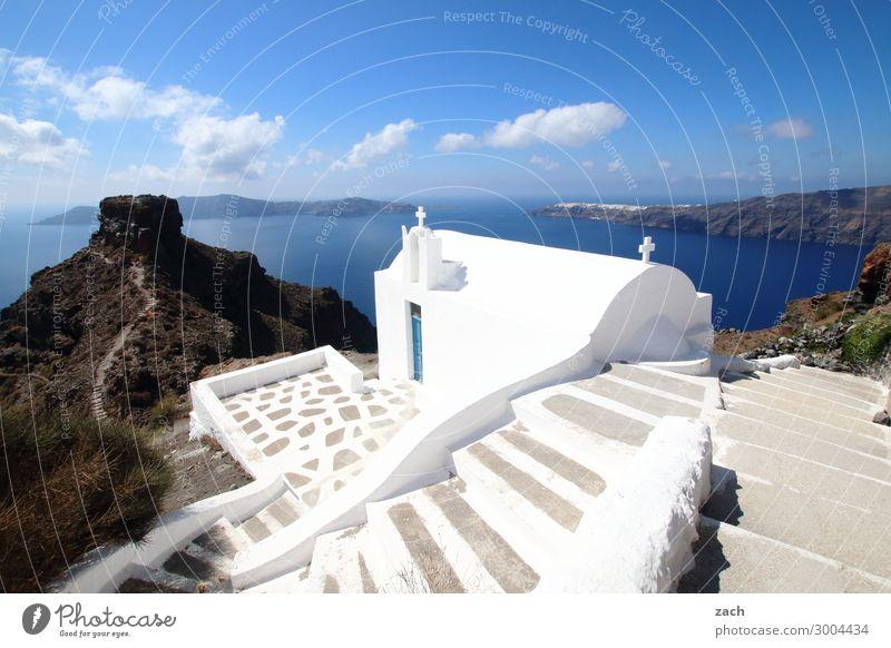 with vision Vacation & Travel Summer vacation Water Sky Beautiful weather Hill Rock Coast Ocean Aegean Sea Mediterranean sea Island Santorini Caldera Cyclades