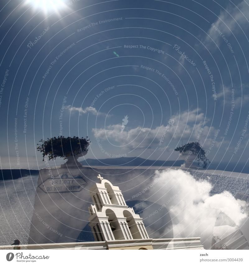 Reality is only a dream Sky Sun Beautiful weather Foliage plant Hill Volcano Caldera Coast Ocean Mediterranean sea Aegean Sea Island Cyclades Santorini Greece
