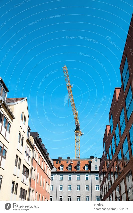 housing Construction crane Craft (trade) Construction site Cloudless sky Town House (Residential Structure) Manmade structures Facade Work and employment