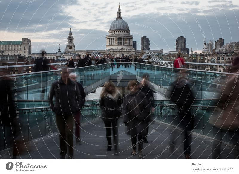 Pedestrians on Milenium Bridge in London. Vacation & Travel Tourism Trip Sightseeing City trip Economy Human being Androgynous Crowd of people Art Architecture