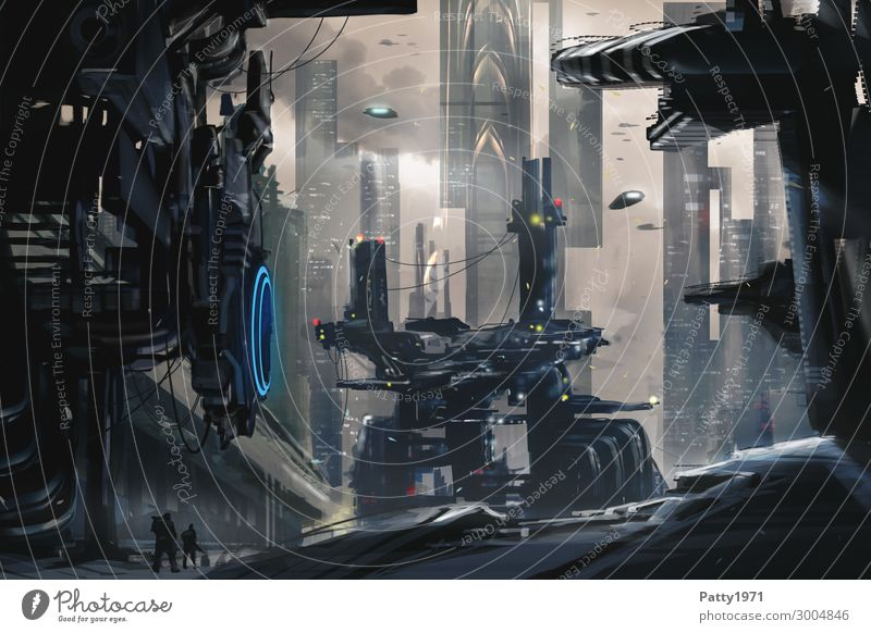 Dark Future - Illustration Technology Advancement High-tech Industry Aviation Astronautics Refinery Science Fiction Town High-rise Industrial plant Building