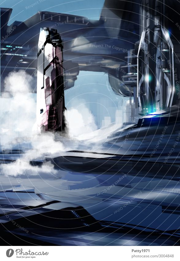 Countdown - Illustration Technology Advancement Future High-tech Aviation Astronautics Science Fiction Skyline High-rise Airport Building Architecture spaceport