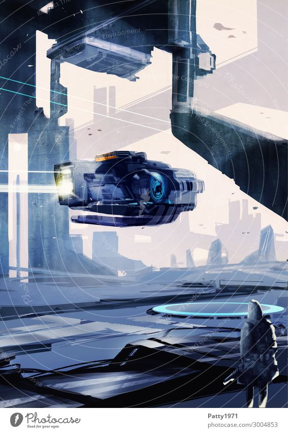 Flyby - Illustration Technology Advancement Future High-tech Astronautics Science Fiction Town Skyline High-rise Industrial plant Flying Dark Speed Blue Violet