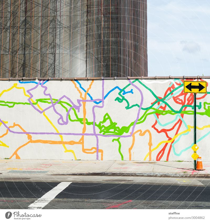 graffiti Town Street Graffiti Subway network Graphic Happiness Colour photo Multicoloured Exterior shot Pattern Structures and shapes Deserted Copy Space right