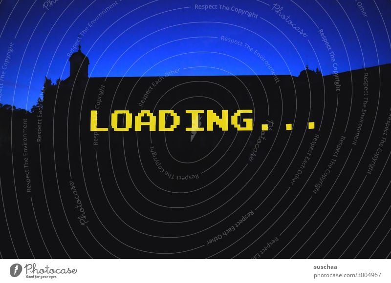loading Word Letters (alphabet) Wait Load charging time charging process Computer Digital Analog Silhouette Twilight Dusk Building Simple Graphic Contrast