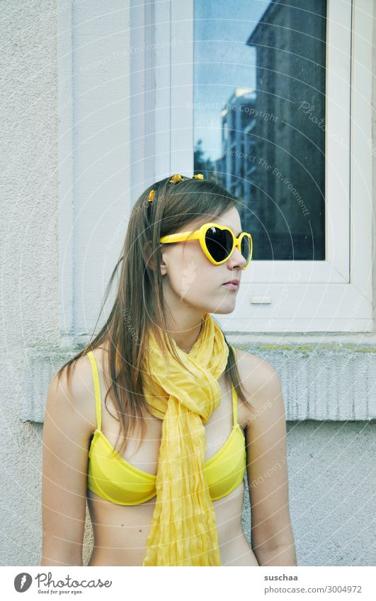 summer in the city (2) Girl Child Youth (Young adults) Young woman teenager Crazy not normal Bikini Sunglasses Scarf Yellow Summer Vacation & Travel at home