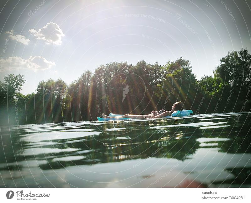 At the lake Vacation & Travel Swimming lake Lake Water Reflection Swimming & Bathing Relaxation Sunbathing To enjoy Warmth Wellness Restful Sunbeam
