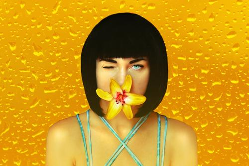 Tell me through the flower! Style Exotic Beautiful Personal hygiene Flirt Carnival Human being Feminine Young woman Youth (Young adults) Woman Adults Face 1