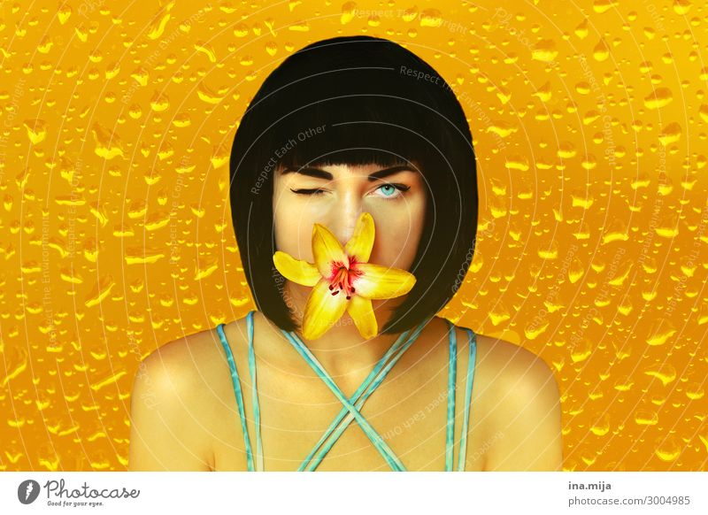Woman Human being Youth (Young adults) Young woman Summer Colour Beautiful Water 18 - 30 years Face Adults Yellow Feminine Style Art Personal hygiene