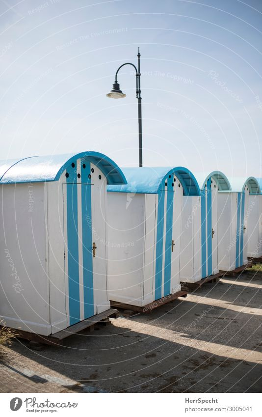 Changing cubicles in Italy Vacation & Travel Summer Summer vacation Beach Sky Cloudless sky Beautiful weather Port City House (Residential Structure) Retro Blue