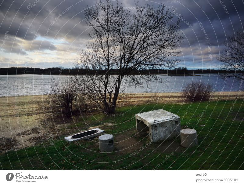 rustic Environment Nature Landscape Water Sky Clouds Autumn Tree Grass Bushes Meadow Lake concrete parts Table Seating Concrete Dark Rustic Appealing