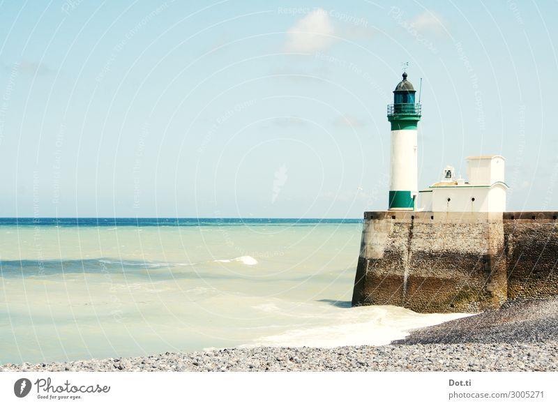 le phare Sky Waves Coast Beach Ocean Lighthouse Blue Green White Vacation & Travel Normandie France Harbour entrance quay wall Gravel beach Maritime Le Tréport