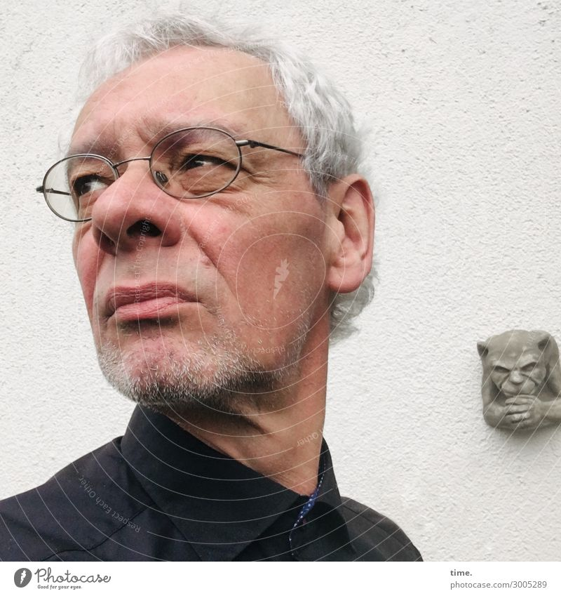 and sometimes you have to go to a funeral ... Masculine Man Adults 1 Human being Art Sculpture Wall (barrier) Wall (building) Shirt Eyeglasses Gray-haired